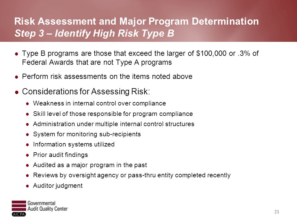 Risk Assessment and Major Program Determination Step 3 – Identify High Risk Type B Type B programs are those that exceed the larger of $100,000 or.3%