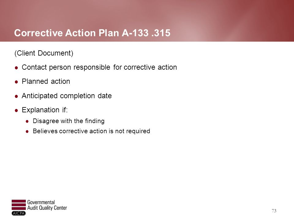 Corrective Action Plan A-133.315 (Client Document) Contact person responsible for corrective action Planned action Anticipated completion date Explana