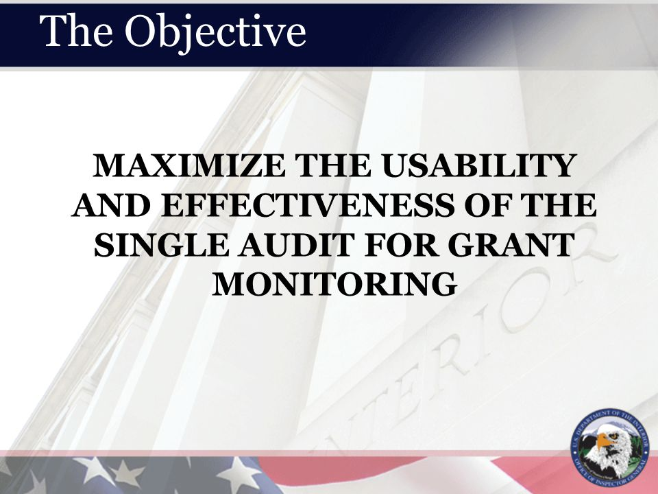 MAXIMIZE THE USABILITY AND EFFECTIVENESS OF THE SINGLE AUDIT FOR GRANT MONITORING The Objective
