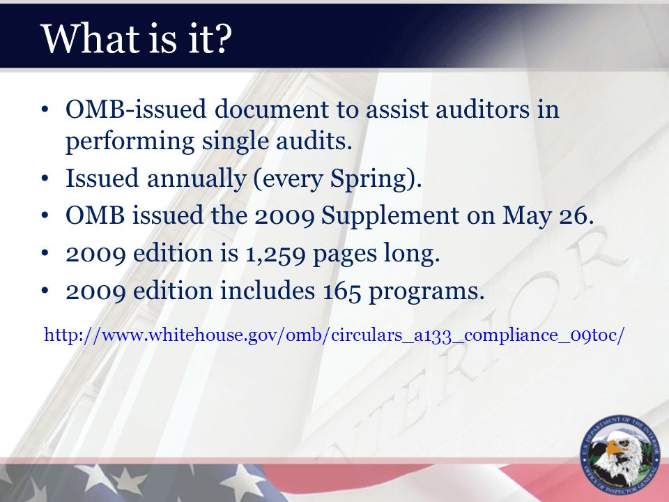 What is it. OMB-issued document to assist auditors in performing single audits.