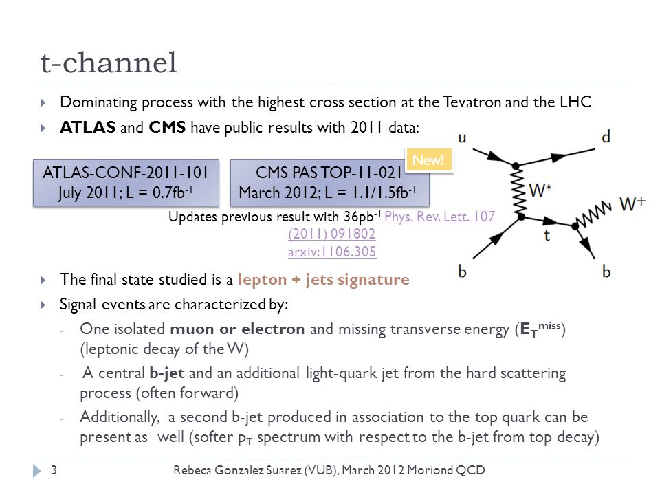 t-channel  Dominating process with the highest cross section at the Tevatron and the LHC  ATLAS and CMS have public results with 2011 data:  The final state studied is a lepton + jets signature  Signal events are characterized by: - One isolated muon or electron and missing transverse energy (E T miss ) (leptonic decay of the W) - A central b-jet and an additional light-quark jet from the hard scattering process (often forward) - Additionally, a second b-jet produced in association to the top quark can be present as well (softer p T spectrum with respect to the b-jet from top decay) ATLAS-CONF-2011-101 July 2011; L = 0.7fb -1 ATLAS-CONF-2011-101 July 2011; L = 0.7fb -1 CMS PAS TOP-11-021 March 2012; L = 1.1/1.5fb -1 CMS PAS TOP-11-021 March 2012; L = 1.1/1.5fb -1 3Rebeca Gonzalez Suarez (VUB), March 2012 Moriond QCD Updates previous result with 36pb -1 Phys.
