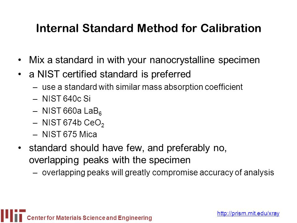 Center for Materials Science and Engineering http://prism.mit.edu/xray Internal Standard Method for Calibration Mix a standard in with your nanocrysta