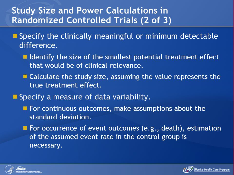  Specify the clinically meaningful or minimum detectable difference.