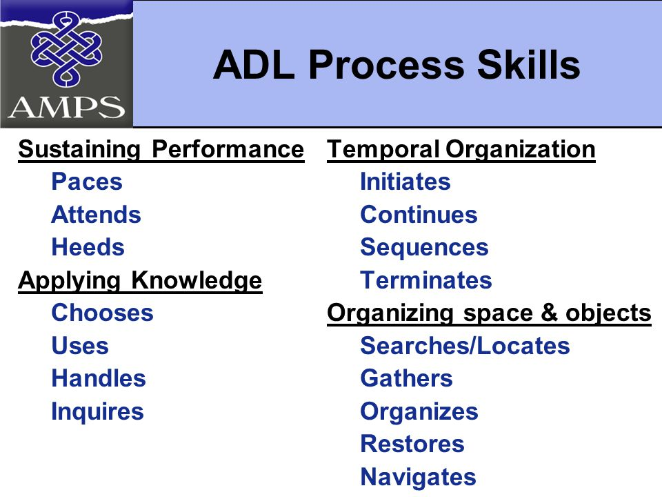 Sustaining Performance Paces Attends Heeds Applying Knowledge Chooses Uses Handles Inquires Temporal Organization Initiates Continues Sequences Terminates Organizing space & objects Searches/Locates Gathers Organizes Restores Navigates ADL Process Skills