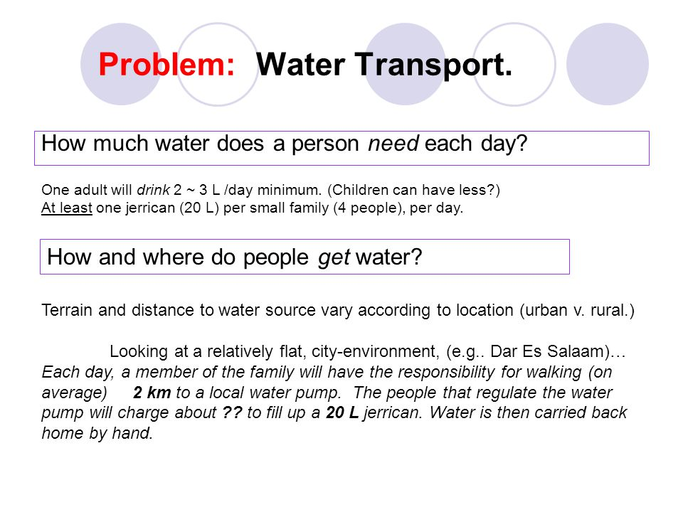Problem: Water Transport. How much water does a person need each day.