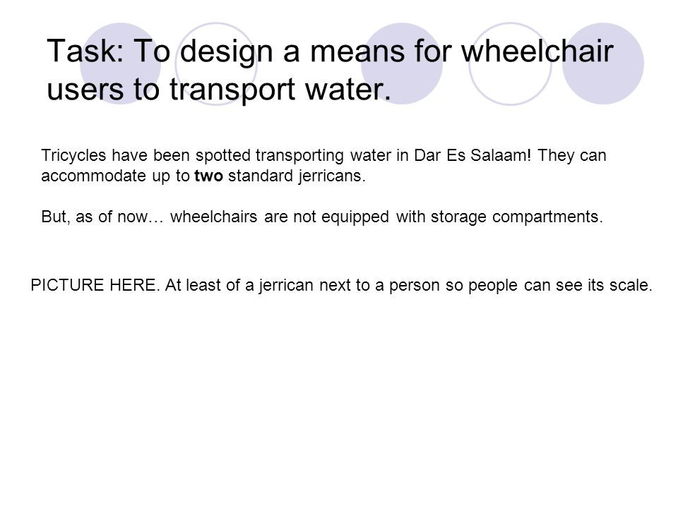 Task: To design a means for wheelchair users to transport water.