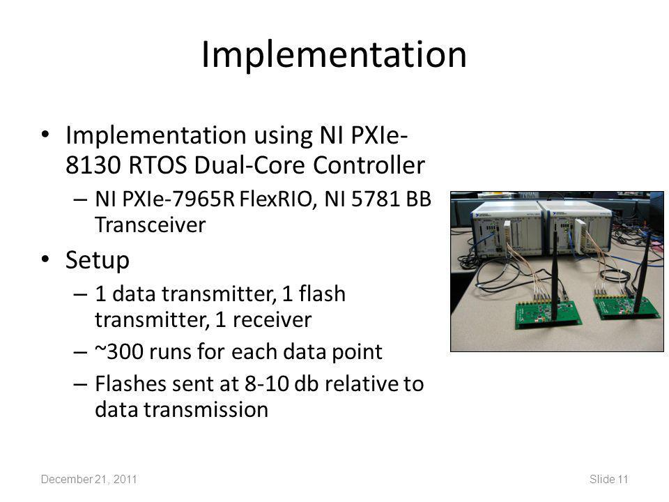 Implementation Implementation using NI PXIe- 8130 RTOS Dual-Core Controller – NI PXIe-7965R FlexRIO, NI 5781 BB Transceiver Setup – 1 data transmitter, 1 flash transmitter, 1 receiver – ~300 runs for each data point – Flashes sent at 8-10 db relative to data transmission December 21, 2011Slide 11