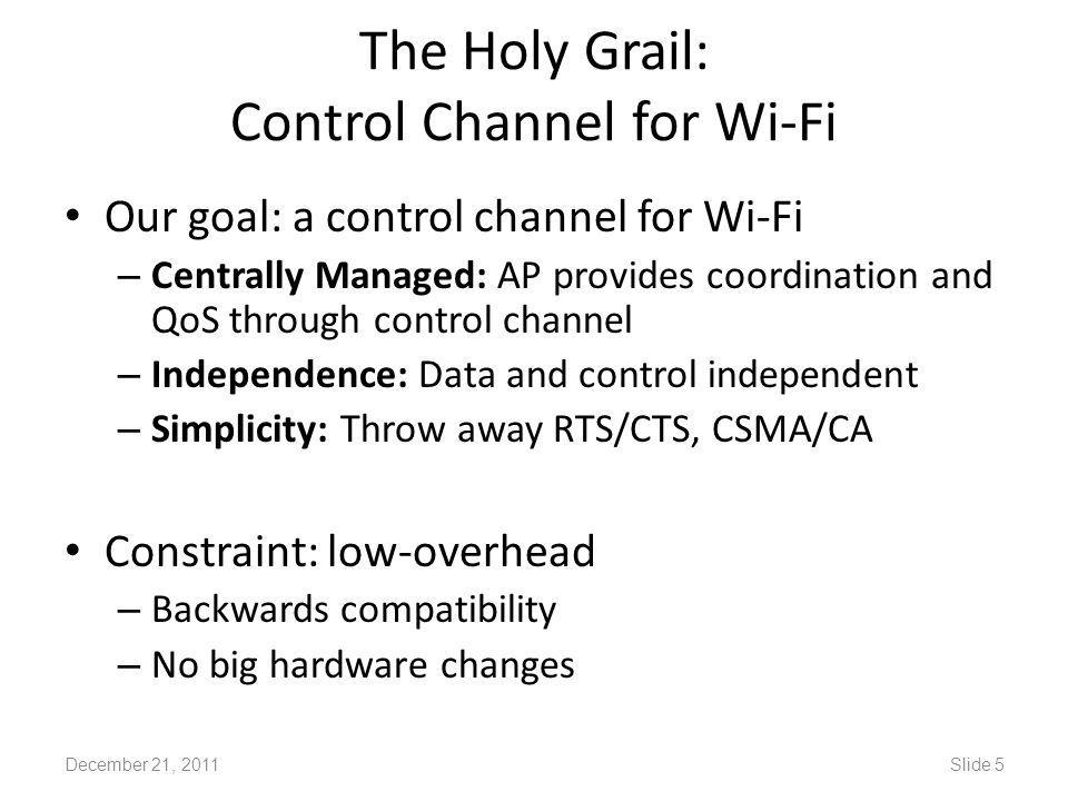 The Holy Grail: Control Channel for Wi-Fi Our goal: a control channel for Wi-Fi – Centrally Managed: AP provides coordination and QoS through control channel – Independence: Data and control independent – Simplicity: Throw away RTS/CTS, CSMA/CA Constraint: low-overhead – Backwards compatibility – No big hardware changes December 21, 2011Slide 5