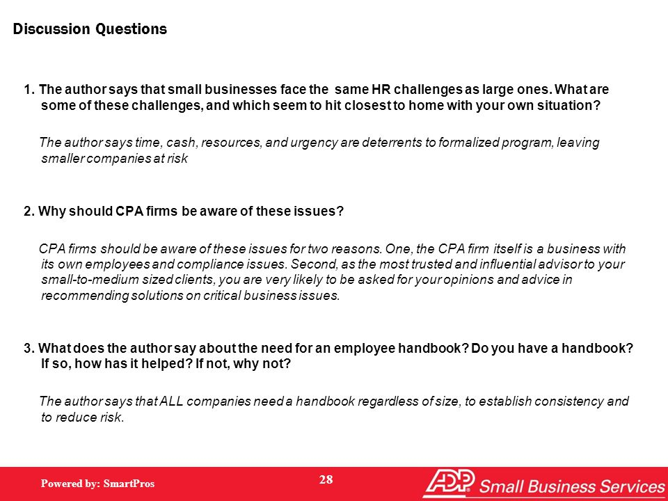 Powered by: SmartPros Discussion Questions 1.