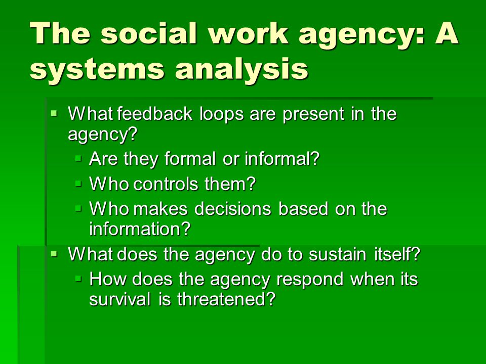 The social work agency: A systems analysis  Who controls the boundaries.