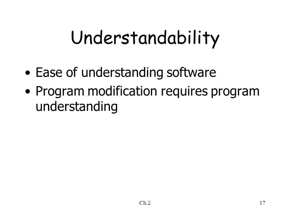 Ch.217 Understandability Ease of understanding software Program modification requires program understanding