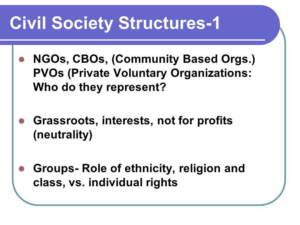 Civil Society Structures-1 NGOs, CBOs, (Community Based Orgs.) PVOs (Private Voluntary Organizations: Who do they represent? Grassroots, interests, no