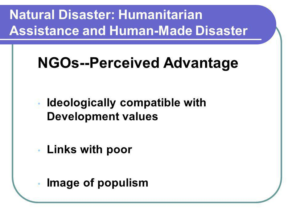 Natural Disaster: Humanitarian Assistance and Human-Made Disaster NGOs--Perceived Advantage Ideologically compatible with Development values Links wit