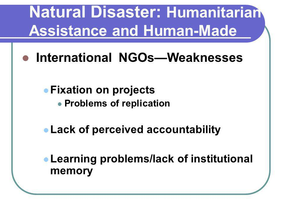 Natural Disaster: Humanitarian Assistance and Human-Made Disaster International NGOs—Weaknesses Fixation on projects Problems of replication Lack of perceived accountability Learning problems/lack of institutional memory