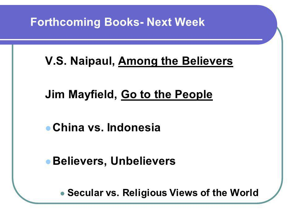 Forthcoming Books- Next Week V.S.
