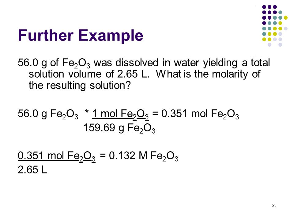 Further Example 56.0 g of Fe 2 O 3 was dissolved in water yielding a total solution volume of 2.65 L.