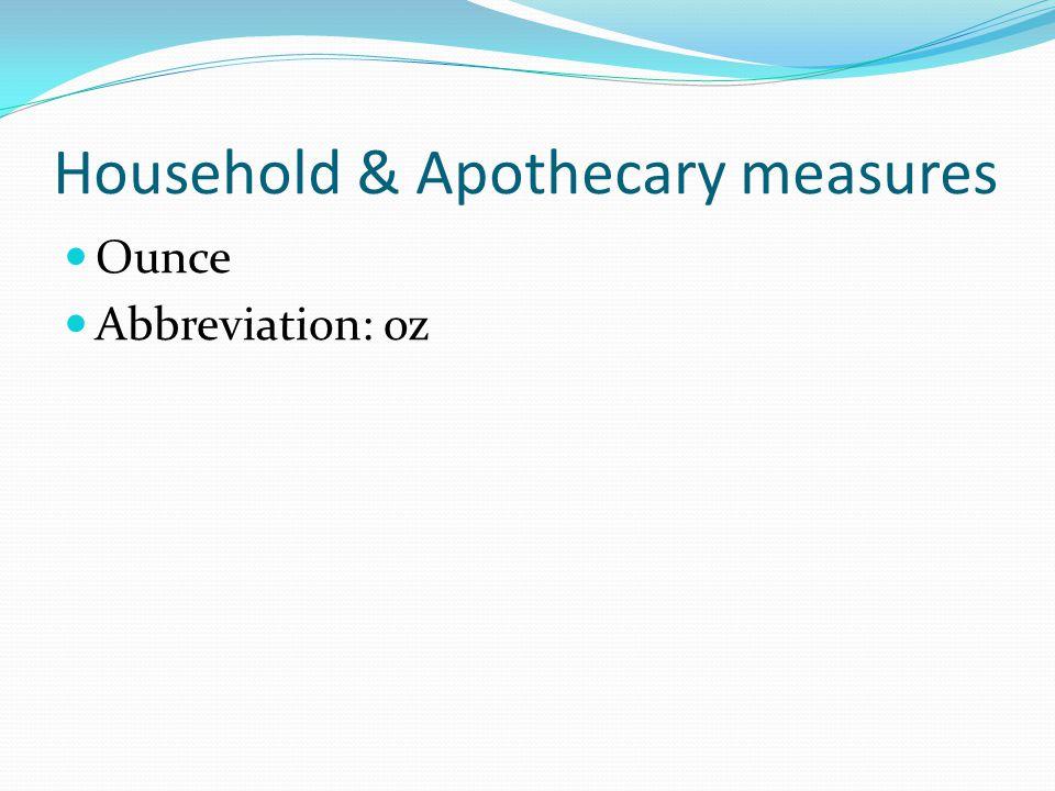 Household & Apothecary measures Ounce Abbreviation: oz