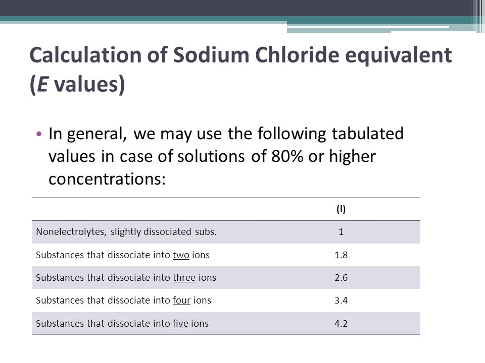 Calculation of Sodium Chloride equivalent (E values) In general, we may use the following tabulated values in case of solutions of 80% or higher concentrations: (i) Nonelectrolytes, slightly dissociated subs.1 Substances that dissociate into two ions1.8 Substances that dissociate into three ions2.6 Substances that dissociate into four ions3.4 Substances that dissociate into five ions4.2