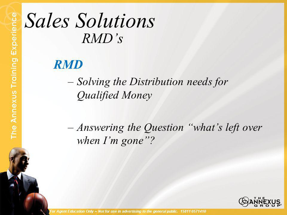 Sales Solutions RMD's RMD –Solving the Distribution needs for Qualified Money –Answering the Question what's left over when I'm gone .