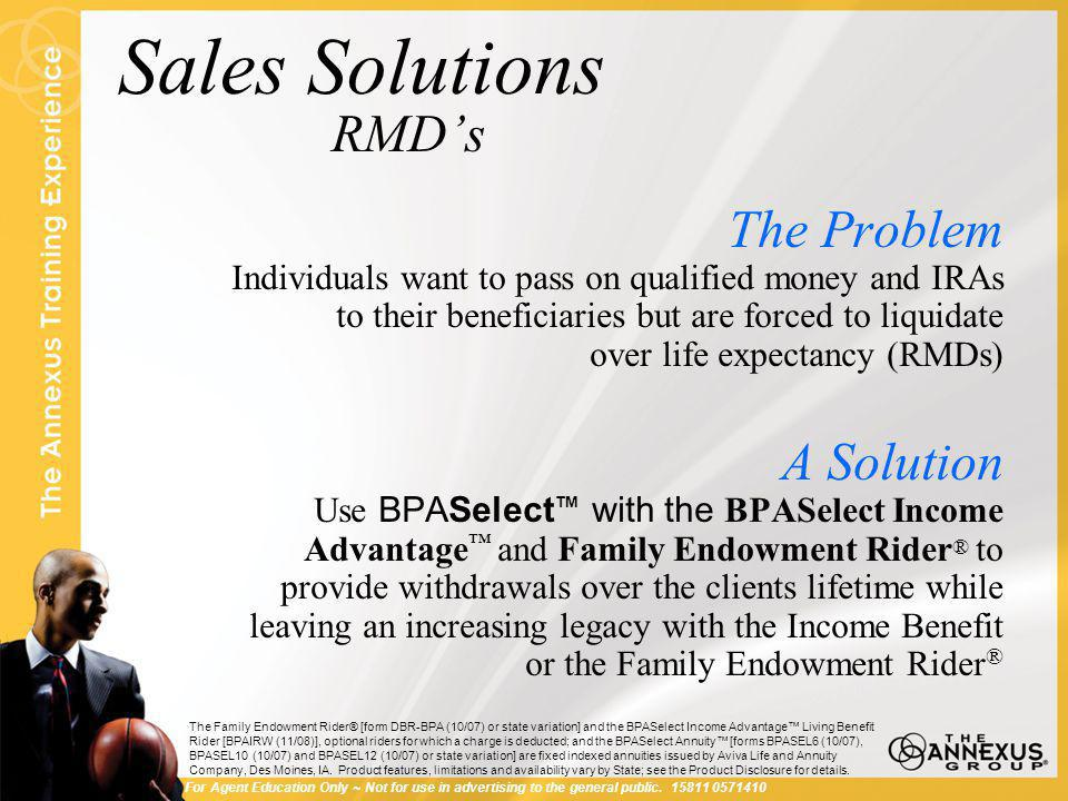 Sales Solutions RMD's Hypothetical Example Mr.and Mrs.