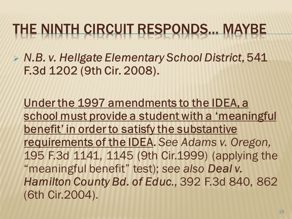  N.B. v. Hellgate Elementary School District, 541 F.3d 1202 (9th Cir. 2008). Under the 1997 amendments to the IDEA, a school must provide a student w