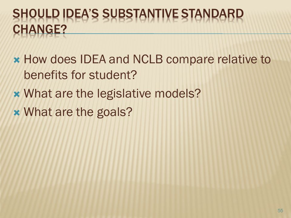 How does IDEA and NCLB compare relative to benefits for student.