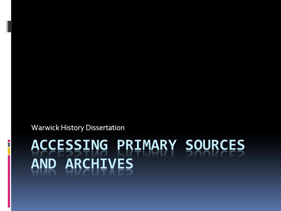 Warwick History Dissertation