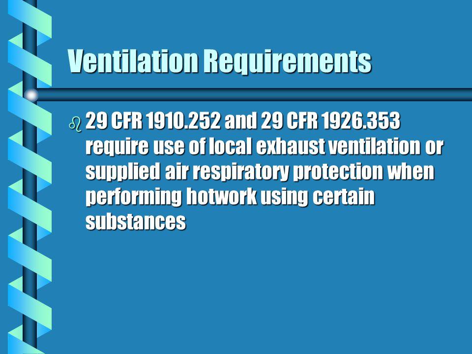 Ventilation- 29 CFR 1910.252 b Ventilation options: provide at least 2000 cfm of airflow for each active welder; orprovide at least 2000 cfm of airflo