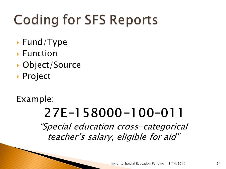  Fund/Type  Function  Object/Source  Project Example: Special education cross-categorical teacher's salary, eligible for aid 8/14/2013 Intro.