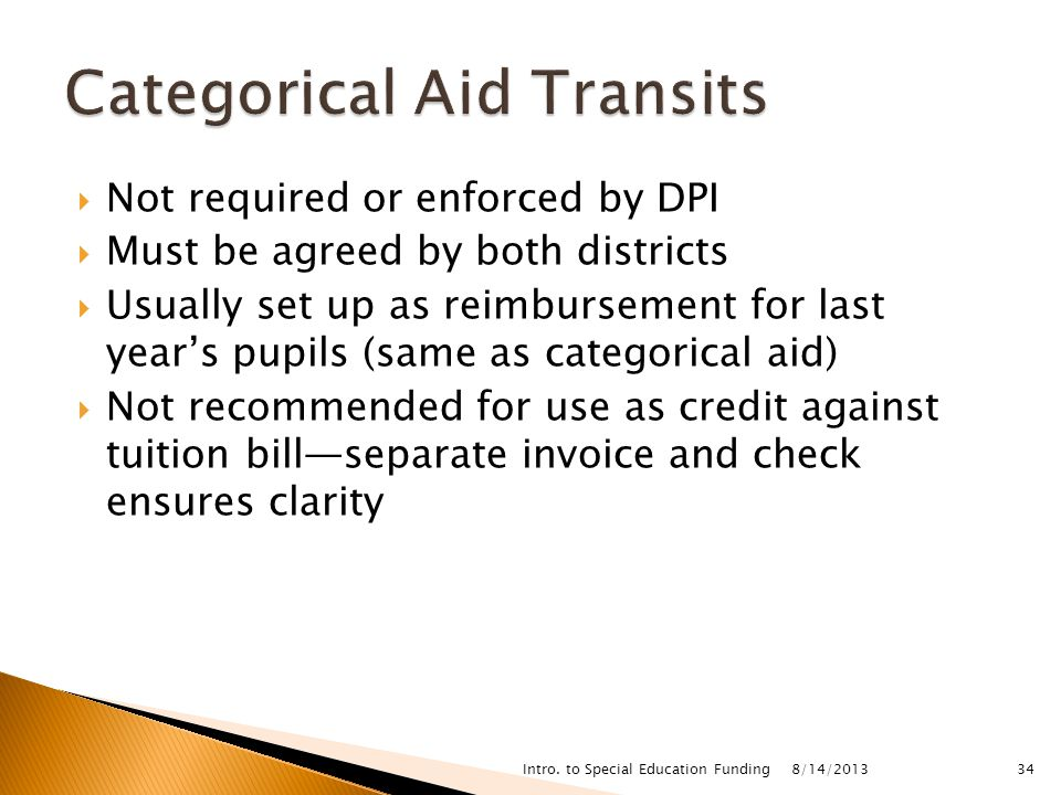  Not required or enforced by DPI  Must be agreed by both districts  Usually set up as reimbursement for last year's pupils (same as categorical aid)  Not recommended for use as credit against tuition bill—separate invoice and check ensures clarity 8/14/2013 Intro.