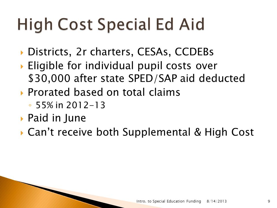  Districts, 2r charters, CESAs, CCDEBs  Eligible for individual pupil costs over $30,000 after state SPED/SAP aid deducted  Prorated based on total claims ◦ 55% in  Paid in June  Can't receive both Supplemental & High Cost 8/14/2013 Intro.