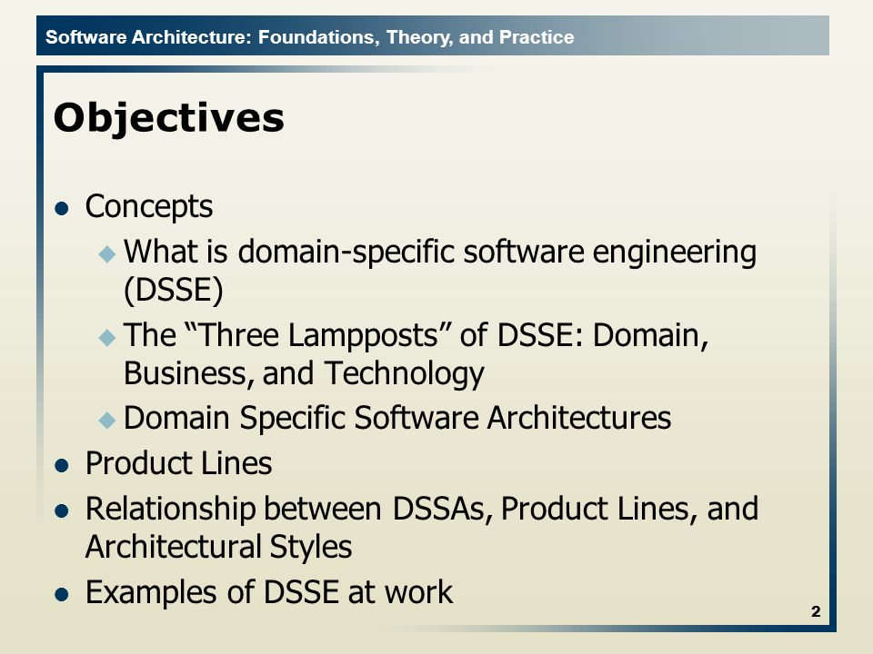 Software Architecture: Foundations, Theory, and Practice Domain Model Defines how entities and data combine to provide features 23 Software Architecture: Foundations, Theory, and Practice; Richard N.