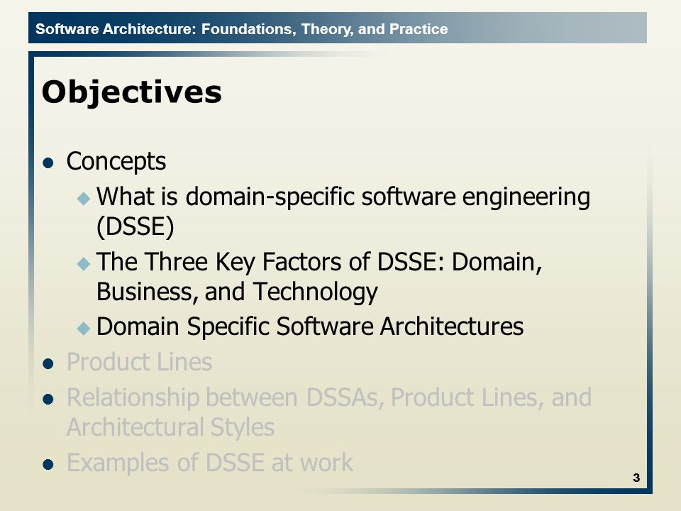 Software Architecture: Foundations, Theory, and Practice Three Key Factors Domain + Technology Application Family Architectures u All possible technological solutions to problems in a domain u Uninformed and unconstrained by business goals and knowledge 14 DomainBusiness Technology