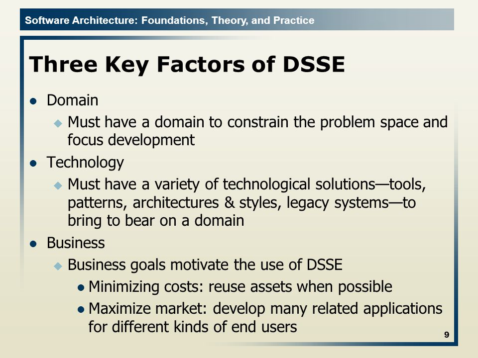 Software Architecture: Foundations, Theory, and Practice Feature Model: Use Case Diagram Defines use cases within the domain Similar to use case models in UML 30 Software Architecture: Foundations, Theory, and Practice; Richard N.