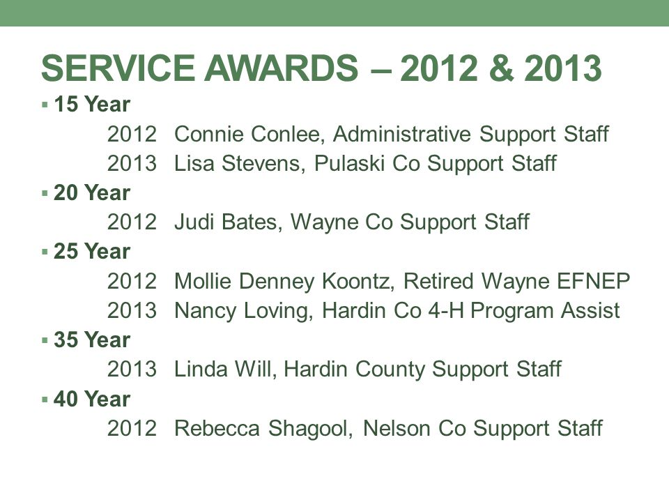 SERVICE AWARDS – 2012 & 2013  15 Year 2012Connie Conlee, Administrative Support Staff 2013Lisa Stevens, Pulaski Co Support Staff  20 Year 2012Judi B