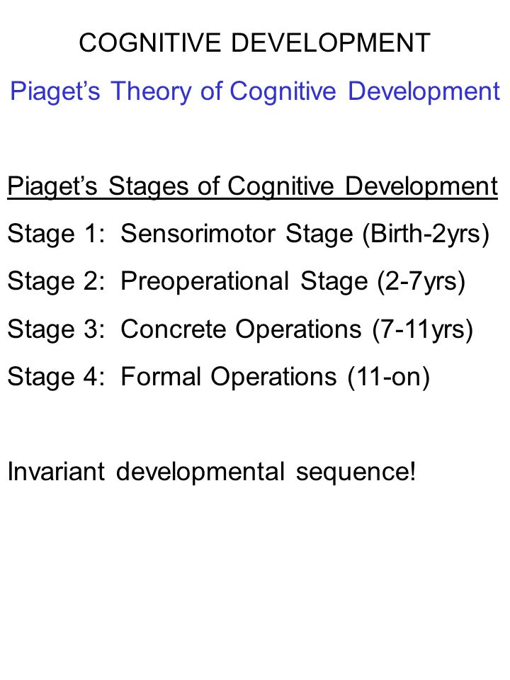 COGNITIVE DEVELOPMENT Piaget's Theory of Cognitive Development Piaget's Stages of Cognitive Development Stage 1: Sensorimotor Stage (Birth-2yrs) Stage
