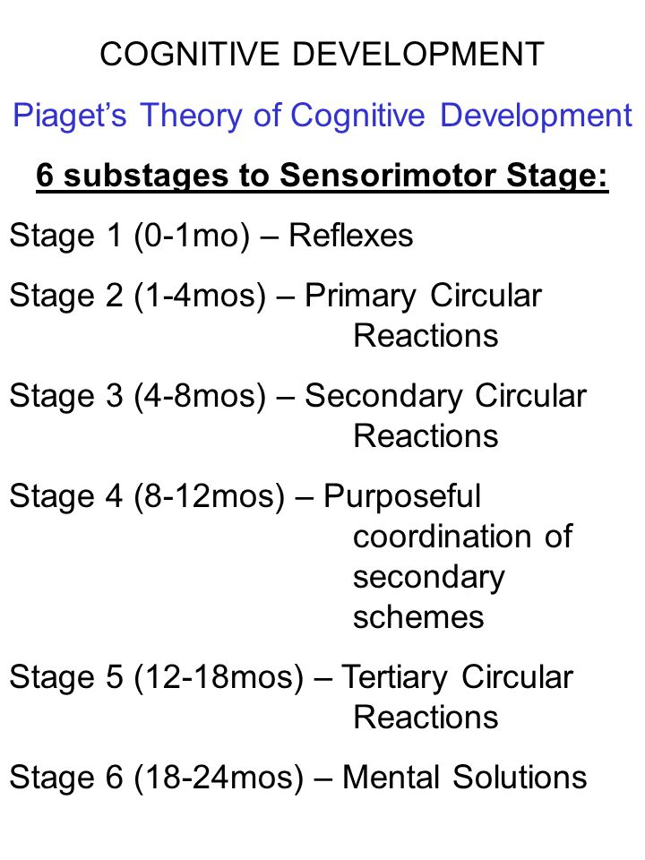 COGNITIVE DEVELOPMENT Piaget's Theory of Cognitive Development 6 substages to Sensorimotor Stage: Stage 1 (0-1mo) – Reflexes Stage 2 (1-4mos) – Primar