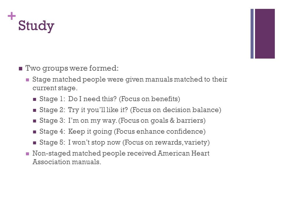 + Study Two groups were formed: Stage matched people were given manuals matched to their current stage.