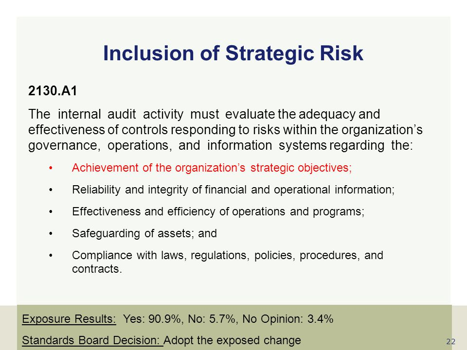 www.globaliia.org 2130.A1 The internal audit activity must evaluate the adequacy and effectiveness of controls responding to risks within the organiza