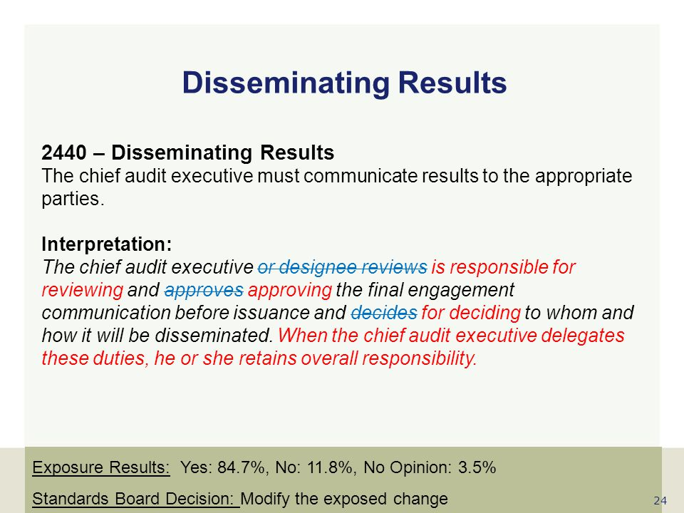 www.globaliia.org Disseminating Results 2440 – Disseminating Results The chief audit executive must communicate results to the appropriate parties. In
