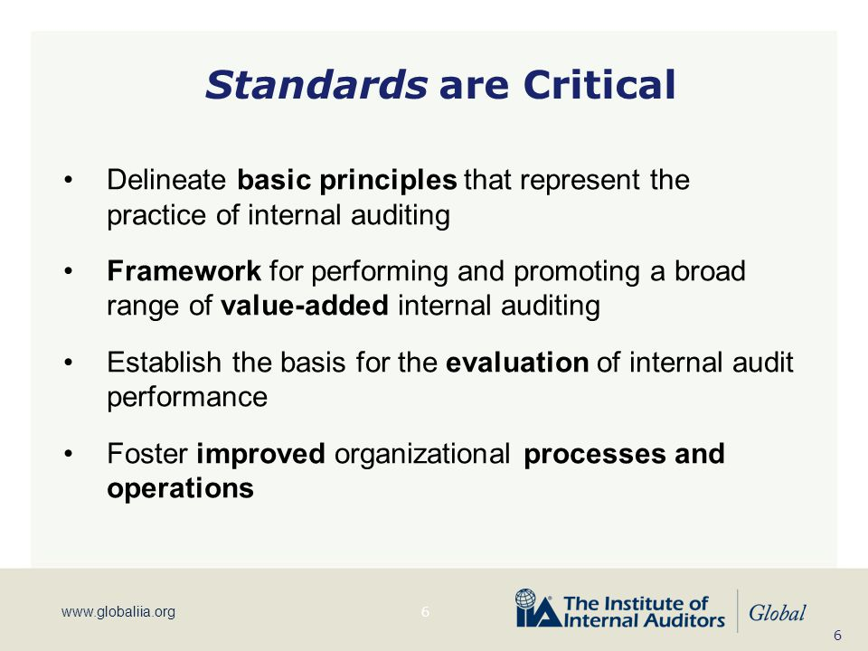 www.globaliia.org Standards are Critical Delineate basic principles that represent the practice of internal auditing Framework for performing and prom