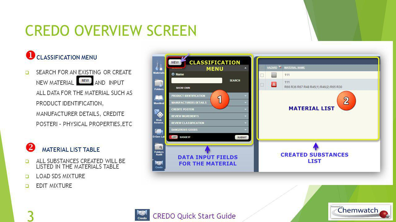 CREDO OVERVIEW SCREEN  CLASSIFICATION MENU  SEARCH FOR AN EXISTING OR CREATE NEW MATERIAL AND INPUT ALL DATA FOR THE MATERIAL SUCH AS PRODUCT IDENTI