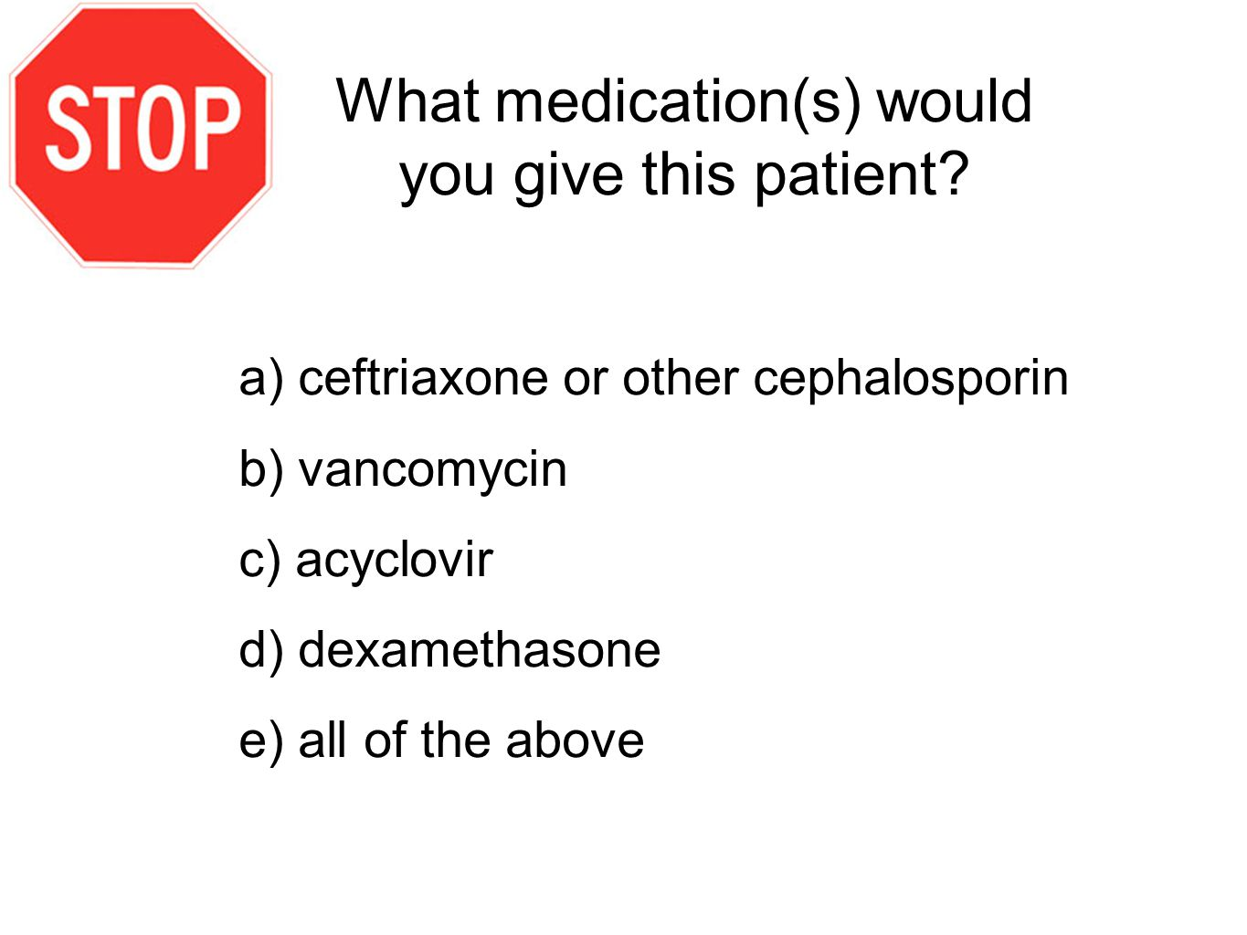 What medication(s) would you give this patient.
