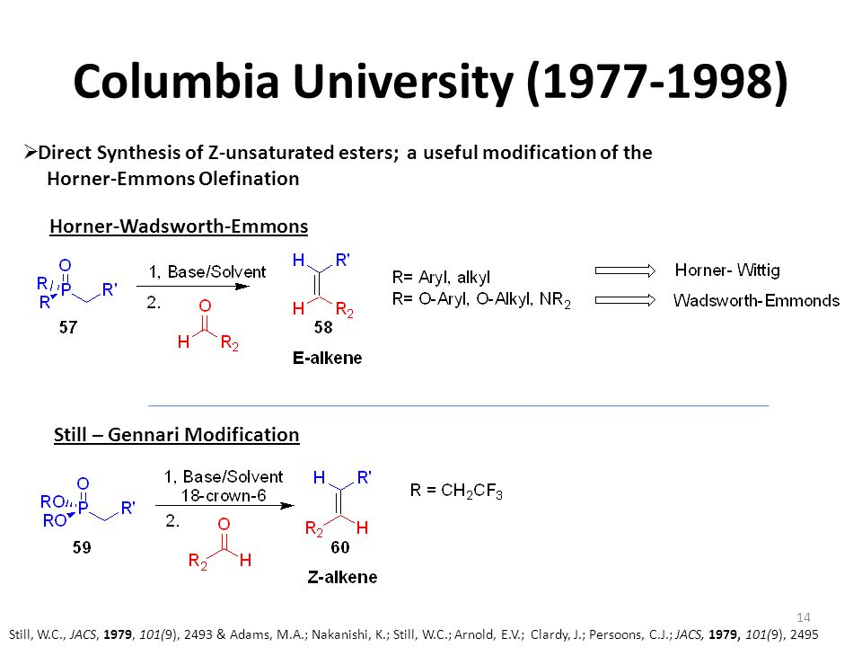 Columbia University (1977-1998)  Direct Synthesis of Z-unsaturated esters; a useful modification of the Horner-Emmons Olefination Still, W.C., JACS,