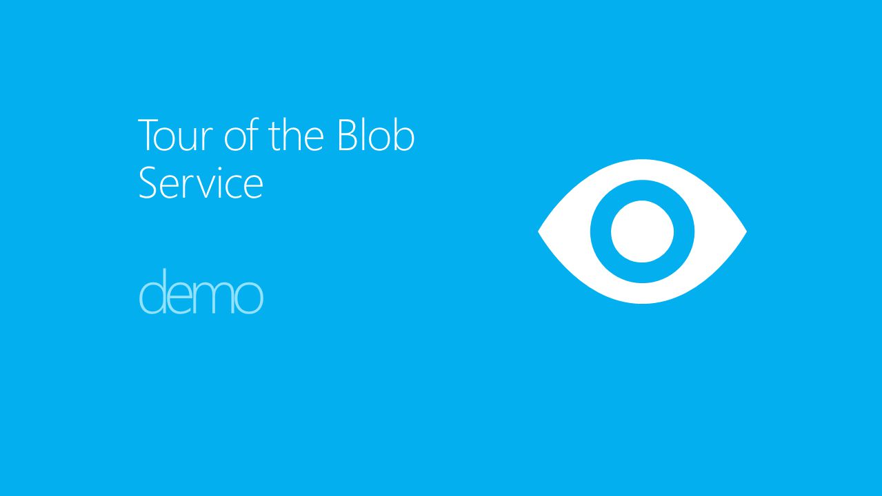 Tour of the Blob Service demo