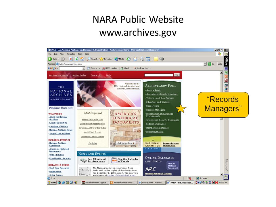 """NARA Public Website www.archives.gov """"Records Managers"""""""