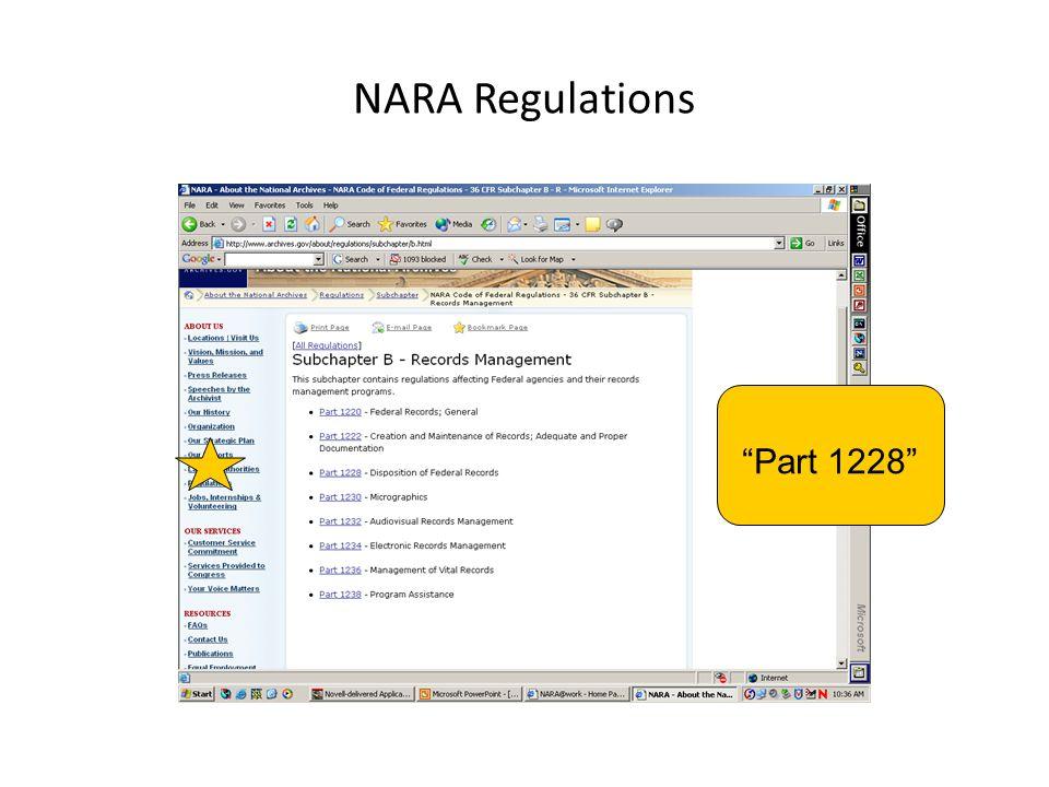 "NARA Regulations ""Part 1228"""