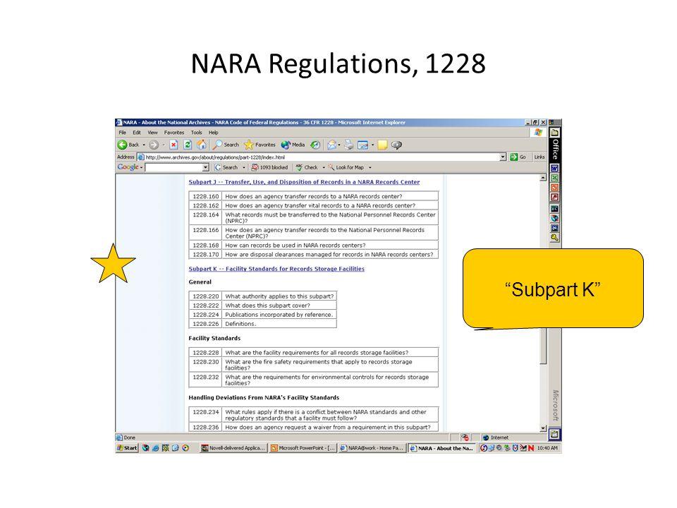 """NARA Regulations, 1228 """"Subpart K"""""""
