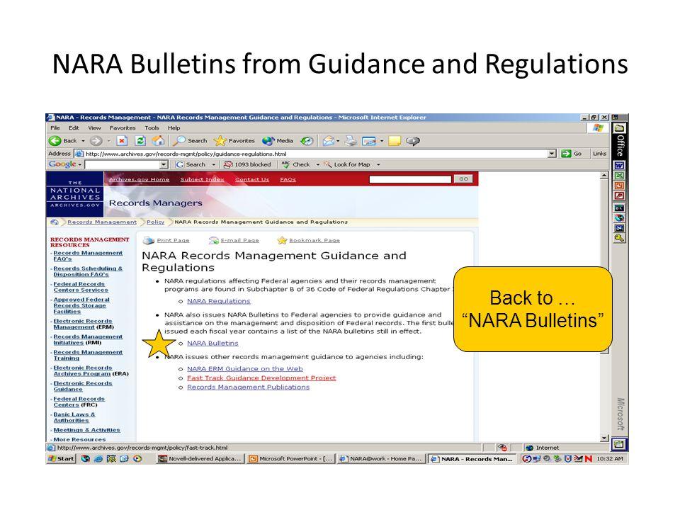 """NARA Bulletins from Guidance and Regulations Back to … """"NARA Bulletins"""""""