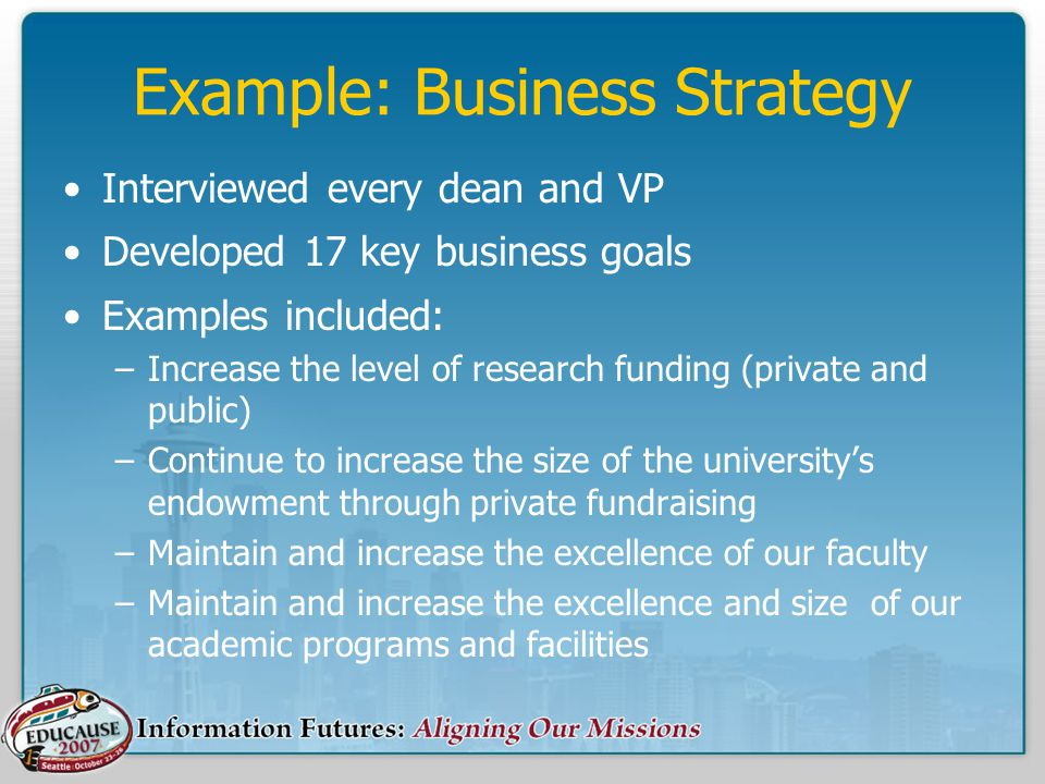 Example: Business Strategy Interviewed every dean and VP Developed 17 key business goals Examples included: –Increase the level of research funding (private and public) –Continue to increase the size of the university's endowment through private fundraising –Maintain and increase the excellence of our faculty –Maintain and increase the excellence and size of our academic programs and facilities